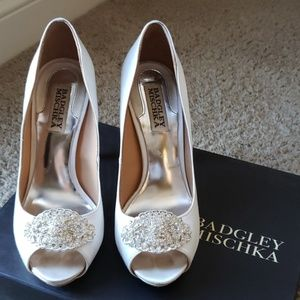 Badgley Mischka white heels